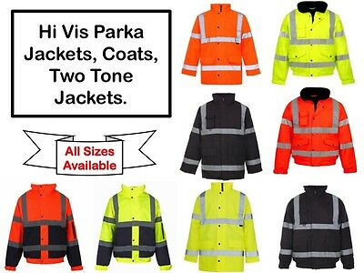 High Visibility Hi Viz Bomber Jacket Parka Coat Waterproof Security Safety Shirt