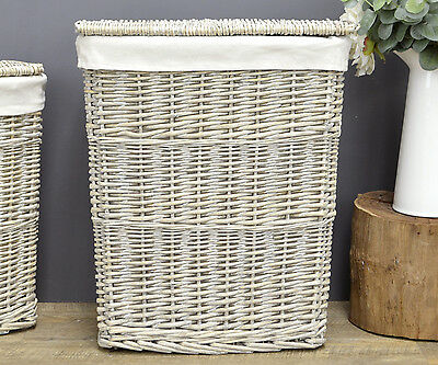 Antique Grey Cane Laundry Basket Hinged Lid + Cotton Lining Rattan Laundry MED
