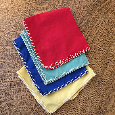 """Handkerchiefs Stitched Solid Color  Set of 4 Red Blue Aqua Yellow 12"""" x 10 2/3"""""""