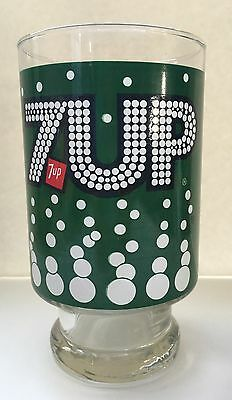 1970s Vintage 7Up Soda Pop Drinking Glass Advertising Footed Pedestal