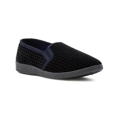 The Slipper Company - Mens Navy Check Slipper - Sizes 5,6,7,8,9,10,11,12,13