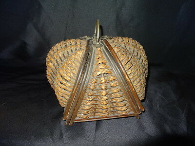 Antique Bubble Wicker Sewing Basket Double-Sided Hinged & Latching Metal Handle