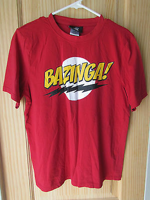 The Big Bang Theory Official Bazinga! Red Graphic T-Shirt Youth Size Large - 14