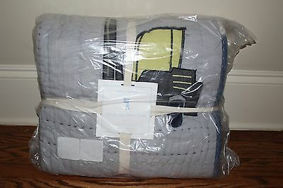 NWT Pottery Barn Kids Colby Construction twin quilt gray trucks