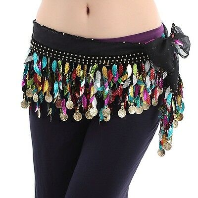 Halloween Belly Dance Hip Scarf Hula Belt Sequins Practise Trainning Scarf skirt