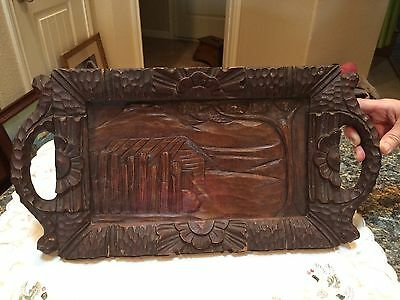 Black Forest Carved Wooden Serving Tray With Handles - Glass Top