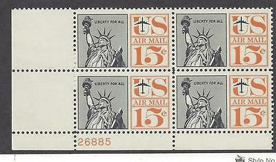 C63 Airmail plate block of 4 - 15cent Statue of Liberty Liberty for all