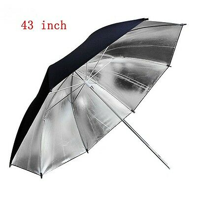 43 Inch 109cm Pro Studio Reflector Black Silver Soft Diffuser Umbrella for Photo