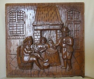 Old Dutch Antique High Relief Carved Oak Wood Furniture Panel Tavern Scene