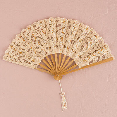 Antiqued Lace Hand Fan Ivory Vintage Wedding Bridal Accessory Weddingstar