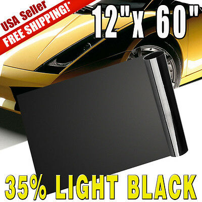 "12""x60"" Medium Black Headlight Vinyl Tint Fog Light Taillight Film Wrap Sheet"