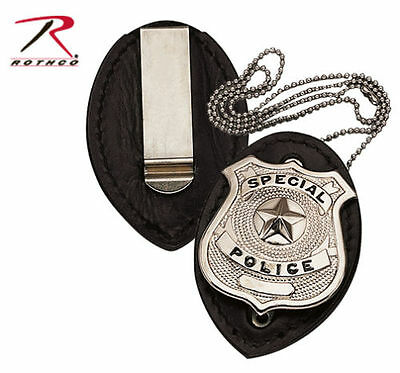 Badge Holder Clip-On Leather Tempered Steel Clip Chain Police Security Detective