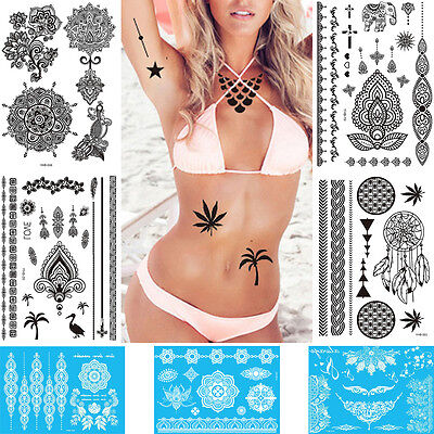 2 Color Women DIY Indian Henna Flower Lace Choker Chain Temporary Tattoo Sticker