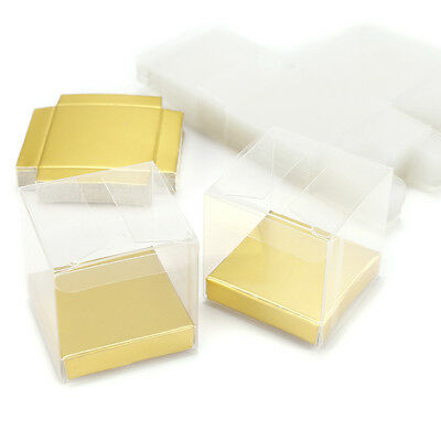 25x Transparent PVC Cube Cup Cake Wedding Favour Gift Boxes with Platform Bases