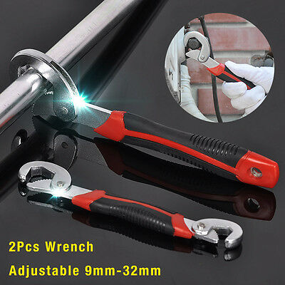 2 Adjusting Multi Wrench Set One Handed Universal Pipe Spanner Wrenche Snap Grip