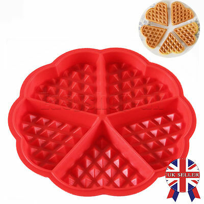 UK 5-Cavity Waffles Cake Chocolate Pan Silicone Mold Safety Baking Mould Fancy