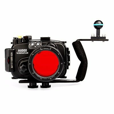 Meikon 40M Waterproof Camera Housing Case for Sony A6000 16-50mm w/Diving Handle