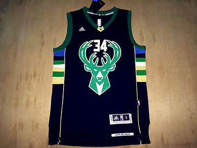 NEW Milwaukee Bucks #34 Giannis Antetokounmpo Black Jersey Size: S - XXL