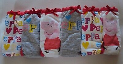 Peppa Pig Girls Pink Red Pants Briefs Knickers Underwear x 6 Age 6/8 Years