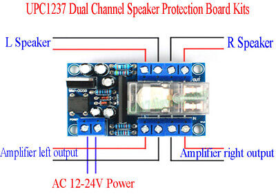 UPC1237 Dual Channel Speaker Protection Board Kits Boot Mute Delay AC12-24V 200W