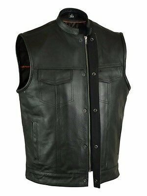 SOA Men's Anarchy Leather Motorcycle Biker Club Concealed Carry Vest