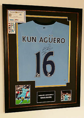 * Sergio Aguero of Manchester CITY Signed Shirt Autograph Display *