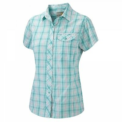 Craghoppers Karina Short Sleeve Shirt in Soft Teal Combo - UK 18 - 50% OFF