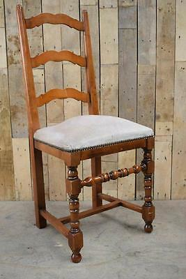 Retro Vintage Solid Wooden Turned Sprung Chapel / Hall / Bedroom Chair