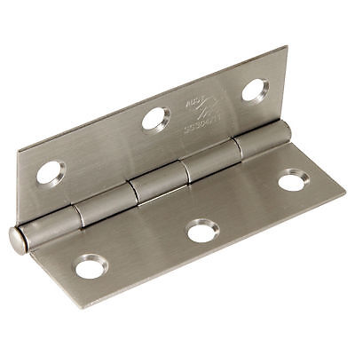 Trio DOOR BUTT HINGE Light & Narrow Fixed Pin Satin Stainless Steel 8.5x6x.16cm