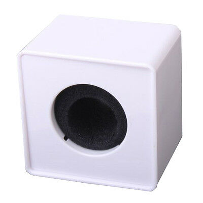 1pc White ABS Mic Microphone Interview Square Cube Logo Flag 39mm Hole DT