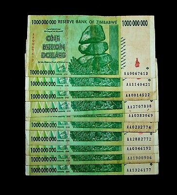 10 Zimbabwe Banknotes-10 x 1 Billion Dollars-currency
