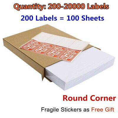 200-20000 Premium 8.5x5.5 Round Corner Shipping Labels Half Sheet Self Adhesive