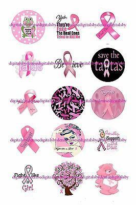 """Breast Cancer Awareness 1"""" Circles  Bottle Cap Images. $2.45-$5.50 Free Shipping"""