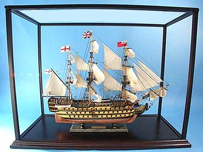"""Wooden Display Case 46"""" Cabinet for Tall Ship,Yacht,Boat Models New"""