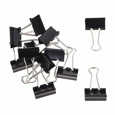 12 Pcs Office Files Documents Metal Black Binder Clips 25mm Width DT