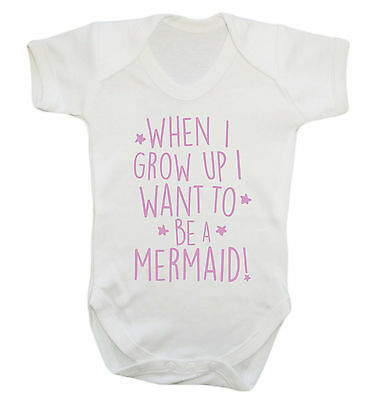 When I grow up I want to be a mermaid baby vest grow fantasy pink hipster 2033