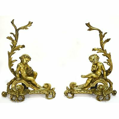 Fine Antique Pair French Louis XVI Bronze Putti Birds Chenets Bookends