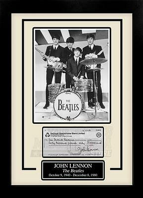 John Lennon Facsimile Signed Autographed Personal Check Framed 8x10 Display