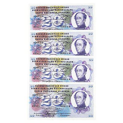 1971 Switzerland 20 Franc Notes Lot (4pcs) XF-UNC Sequential Numbers P.45S