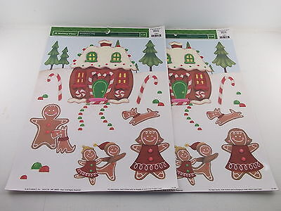 2 Holiday Time Window Clings Christmas Decor Gingerbread Family and House