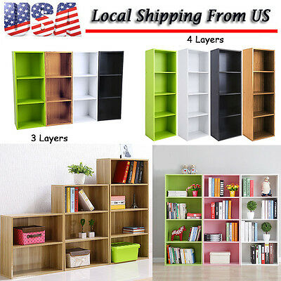 Bookcase Shelf Tall Effect Shelves Bookshelf Shelving Unit White/Black/Green/Oak