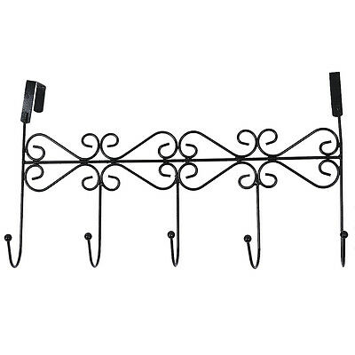 5 Hanger Black Towel Hat Coat Clothes Wall Hook Over Door Bathroom DT
