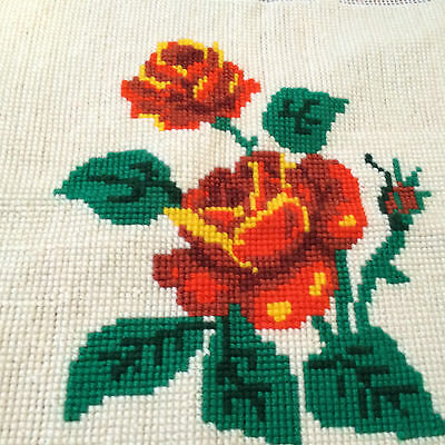 Finished Cross Stitch Large Rose Orange with Cream Background for frame/pillow