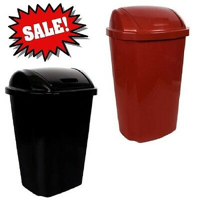 Hefty 135 Gallon Swing Lid Trash Can Red Black Garbage Basket