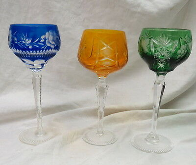 """3 cut to clear crystal 8"""" tall wine goblets / no mark / st louis? art glass RARE"""