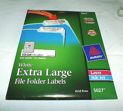 """Avery File Folder Labels #5027, 15/16"""" x 3 7/16"""", 450 White Labels"""