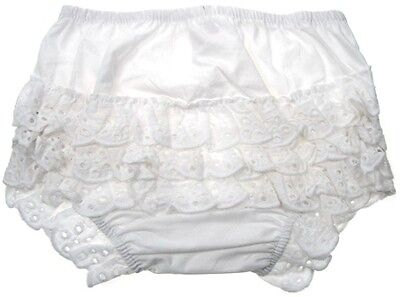 Baby Girls White Cotton Frilly Pants/Knickers 0-6/ 6-12/12-18 months