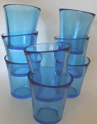 Hand Blown Drinking Glass  Tumblers Cobalt Blue Set of 8