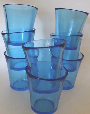 Hand Blown Drinking Glass  Tumblers Cobalt Blue Set of 8