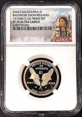 2016 S Proof Code Talkers Dollar, NGC PF 70 Ultra Cameo, Baltimore Show Releases